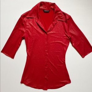 Vintage Y2K Stretchy Red Sparkle Top